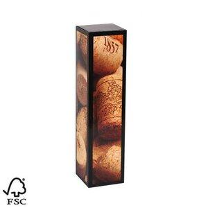 """Wijndoos 1 fles karton """"kurk"""" met afmeting 8.7x8.7x36cm."""